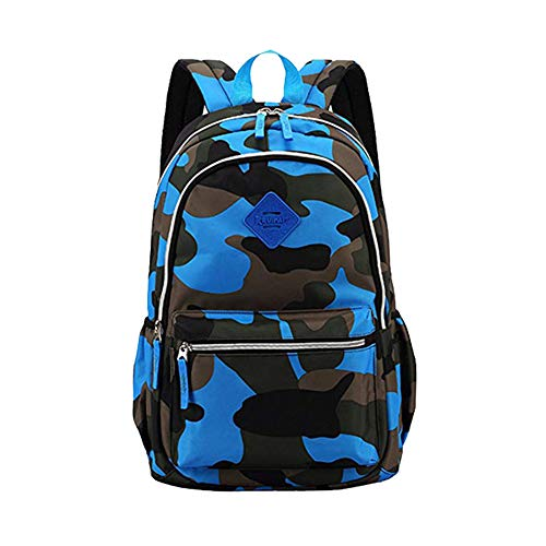 School Backpack Elementary School Bags Casual Daypack Kids Bookbag for Boys and Girls (Camouflage Blue)