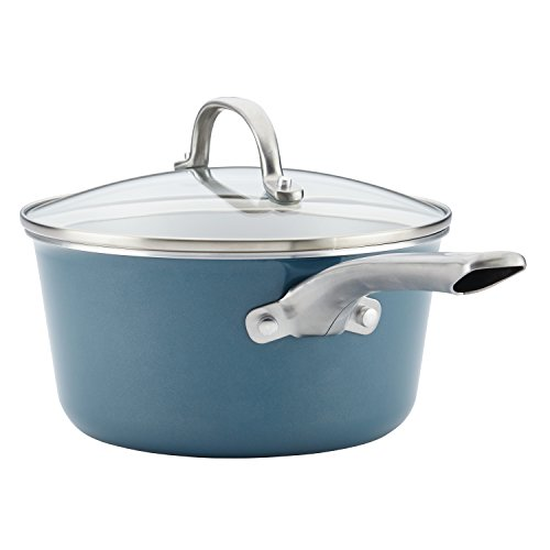 Ayesha Curry Home Collection Porcelain Enamel Nonstick Covered Saucepan, 3-Quart, Twilight Teal
