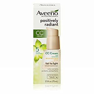 Aveeno Positively Radiant CC Cream Broad Spectrum Spf 30, Fair To Light Tinted Moisturizer, 2.5 Oz