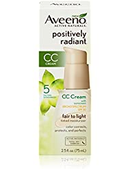 Aveeno Positively Radiant CC Cream Broad Spectrum Spf 30, Fair To Light Tinted Moisturizer, 2.5 Oz