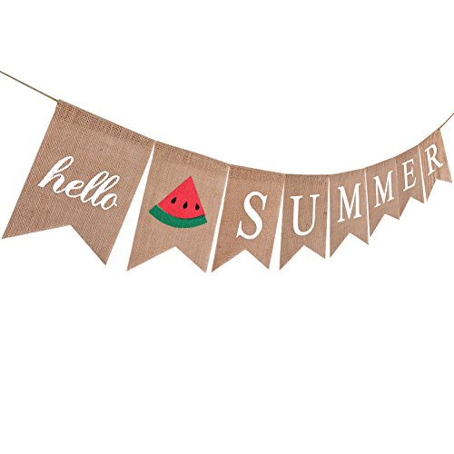 - Summer Party Decoration Hello Summer Banner Summer Burlap Banner For Hawaiian Luau Pool Party Supplies