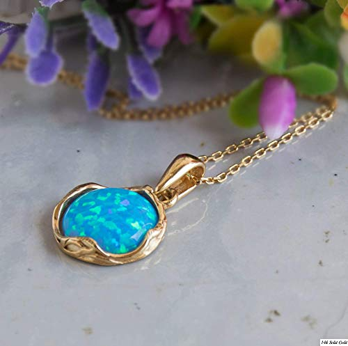 14K Gold Plated Blue Opal Necklace - 14K Gold over Plated 925 Sterling Silver, Dainty 12mm Blue Opal Gemstone Pendant October Birthstone, Delicate Handmade Vintage Antique Jewelry for Classy Women ()