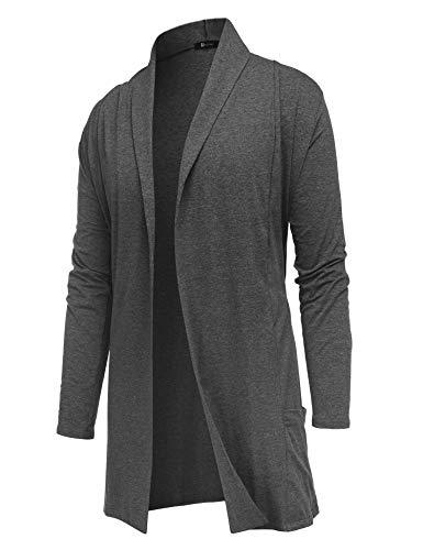(RAGEMALL Men's Cardigan Ruffle Shawl Collar Cardigan Open Front Blend Long Length Drape Cape Overcoat Dark Grey_L)
