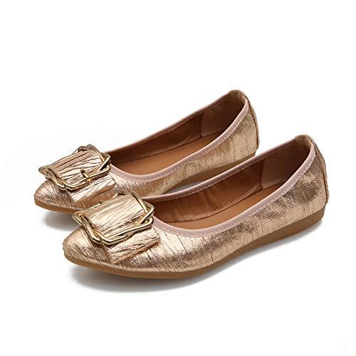 FLYRCX Suave y cómodo Zapatos Planos de la Manera de la Boca Baja de la Boca Suave Puntiagudos Solos Zapatos Zapatos de Ballet Zapatos de Las Mujeres Embarazadas Gold