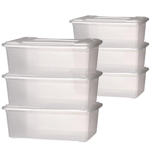 Jago Schuhbox Schuhschachtel Aufbewahrung Box mit Deckel transparent ca. 33 x 23 x 12 cm Schuhkartons im 1er- oder 2er-Set (pro Set 6 Boxen)