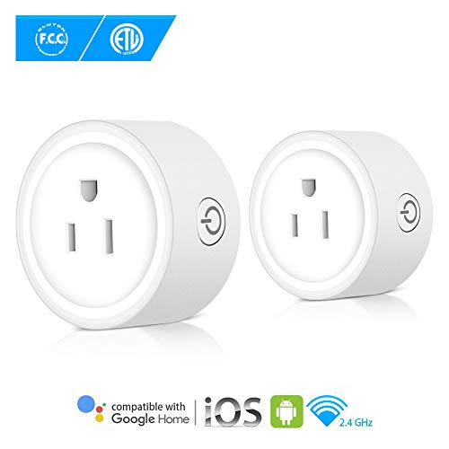 Wifi Smart Plug, ZONKO Wireless Plug Socket -2 Packs, Compatible with Amazon Alexa & Google Home, No Hub Required, App Control Your Devices Anytime Anywhere