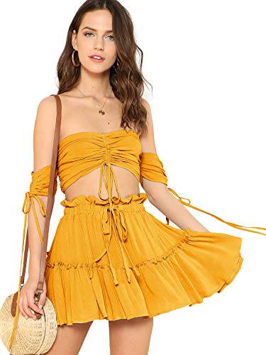 Floerns Women's Two Piece Outfit Off Shoulder Drawstring Crop Top and Skirt Set Mustard S