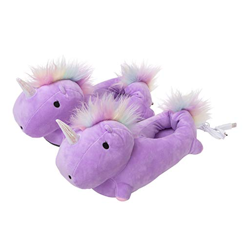 (SMOKO Adorable Plush Unicorn Heated Footwarmer Slippers, Powered by USB (PURPLE))