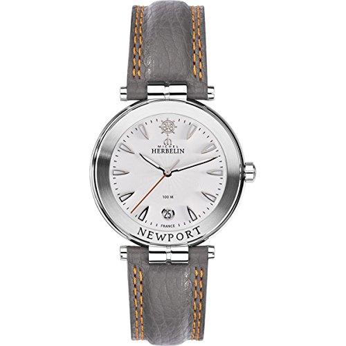 Men's Watch Michel Herbelin - 12255/11GR - Newport - White Dial - Grey Leather Band