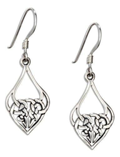 Sterling Silver Celtic Knotted Heart Teardrop Dangle Earrings