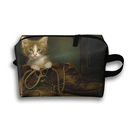 With Wristlet Cosmetic Bags Cat In Boots Brush Pouch Portable Makeup Bag Zipper Wallet Hangbag Carry (Cat Boot Brush)
