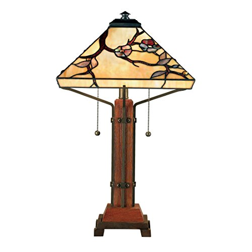 Quoizel TF6898M 2-Light Tiffany Table Lamp in Multiple (Quoizel Wood Table Lamp)