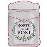 Designs Combined North Pole Post White 10.5 x 15 Inch Metal Decorative Christmas Mailbox