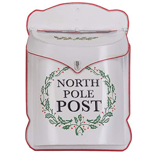 (Designs Combined North Pole Post White 10.5 x 15 Inch Metal Decorative Christmas Mailbox)