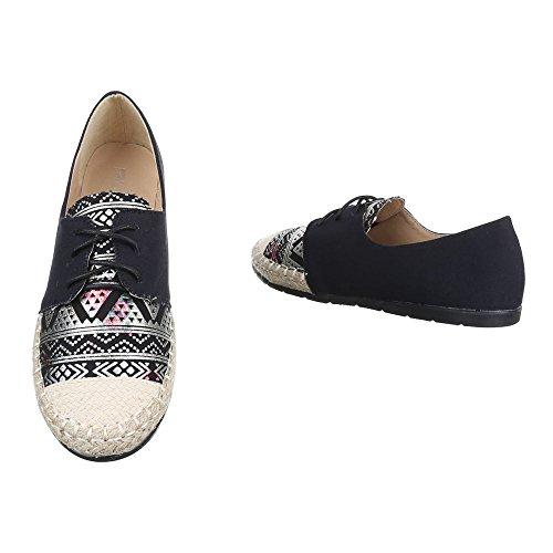 para Zapatillas Ital cordones con Design negras mujer 6C8q1Cx7