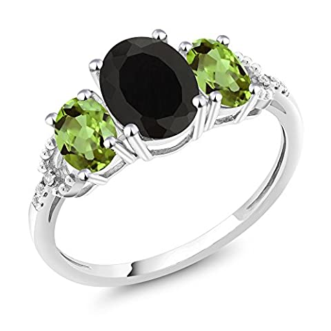 10K White Gold Diamond Accent Three-Stone Engagement Ring set with 2.30 Ct Oval Black Onyx Green - Set Oval Onyx Ring