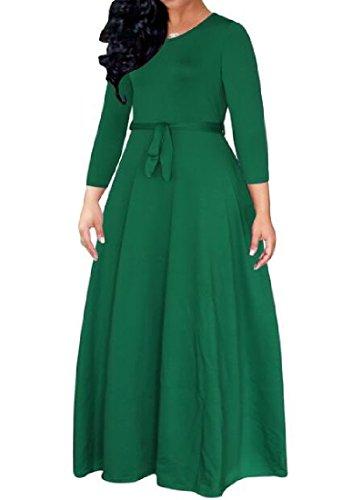 4 3 Strappy Comodo Solido Girocollo Vestito Manica Pullover Donne Verde zCwCqT