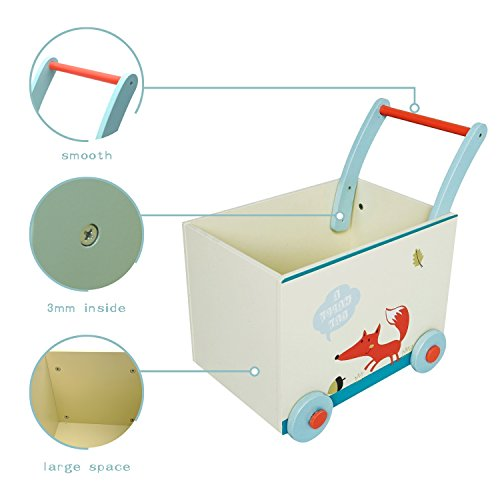 Amazon.com : Labebe Baby Walker with Wheel, White Fox Printed Wooden Push Toy, 2-in-1 Wooden Activity Walker for Baby 1-3 Years, Baby Wagon/Infant Baby ...