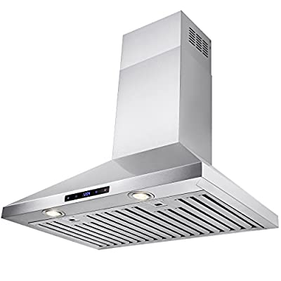 FireBird European Style Wall Mount Stainless Steel Range Hood Vent with Touch Sensor Control and Baffle Filters