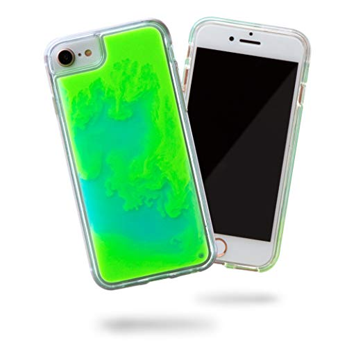 SteepLab Flowing Neon Sand Liquid Case for iPhone 8 & iPhone 7 & iPhone 6 - Full Body Protection with Raised Bezel - Mint and Neon Green Glow (Glow In The Dark Phone Case Iphone 6)