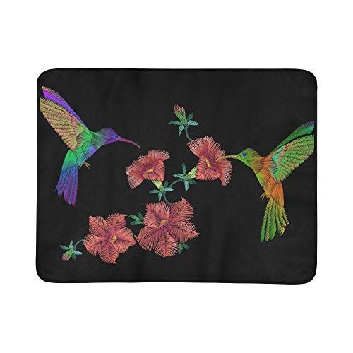 Over Crewel Embroidery - Embroidery Crewel Hummingbird Bird Flying Over Pet Pattern Portable and Foldable Blanket Mat 60x78 Inch Handy Mat for Camping Picnic Beach Indoor Outdoor Travel
