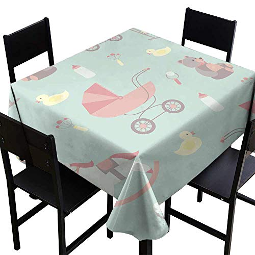 - SKDSArts Square Tablecloth Fitted Seamless Baby Background Rocking Horse Teddy Bear Stroller Duck bib,W54 x L54 Square Polyester Fabric Tablecloth