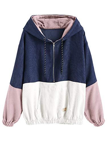 (ZAFUL Women's Color Block Pullover Hoodie Half Zip Long Sleeve Corduroy Hoodie Jacket(Multi-Blue-S))
