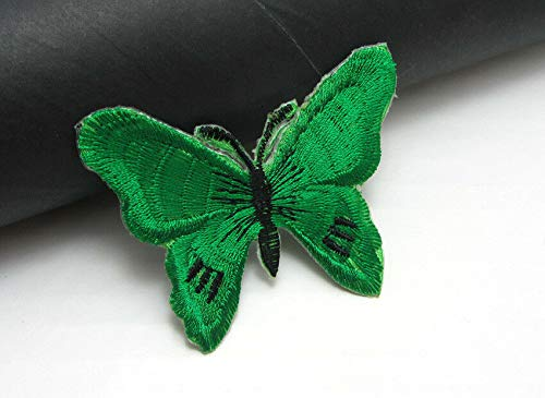 New 5pcs Embroidered Cloth Iron On Patch Sew Motif Applique Butterfly 7X5cm (Color - Green)