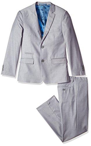 Isaac Mizrahi Big Boys' 2Pc Slim Cut Wool Blend Suit, Dark Grey, 16H by Isaac Mizrahi