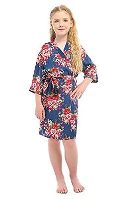 Children's Rayon Cotton Floral Satin Kimono Robe for Wedding Dressing Gown Sleepwear