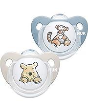 NUK Trendline fopspeen | 0-6 maanden | BPA-vrije fopspeen van siliconen | Disney Winnie Puuh | blauw (jongen) | 2 stuks