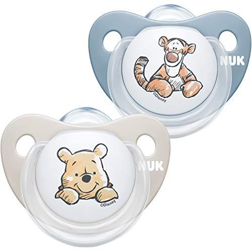 NUK Trendline fopspeen | 0-6 maanden | BPA-vrije fopspeen van siliconen | Disney Winnie Poeh | blauw (jongen) | 2 stuks