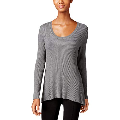 Petites Co Ribbed & Style - Style & Co. Womens Petites Ribbed Long Sleeves Sweatshirt Gray PM
