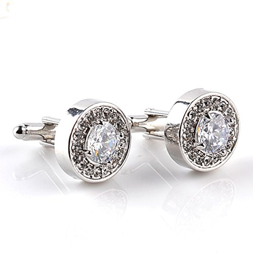 ue Design Stylish Modern Luxury Crystal Blue Stone Cufflinks for Shirt Business Wedding Jewellery Accessories,White,One Size ()