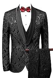 Men's Slim Fit 3 PC Floral Suits One Button Wedding Suits Dinner Suits Blazer Vest Trousers