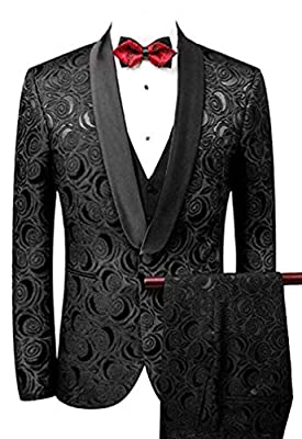 Men's Slim Fit 3 PC Floral Suits One Button Wedding Suits Dinner Suits Blazer Vest Trousers