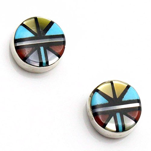 Zuni Multi Color Inlay Studs by Angela Laate | 3/8