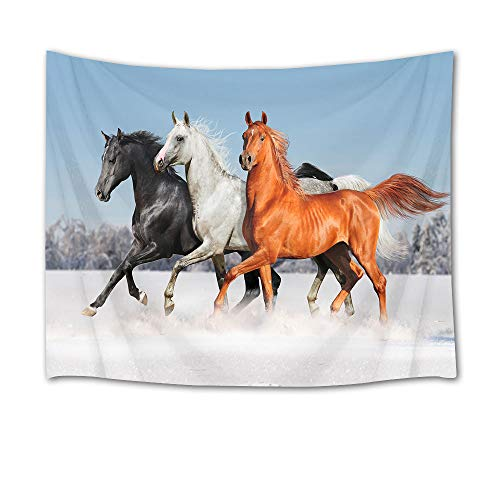 HVEST Galloping Horse Tapestry Horses Running on Snow in Forest Wall Hanging Animal Tapestries for Bedroom Living Room Dorm Party Wall Decor,60Wx40H - Horse Hanging