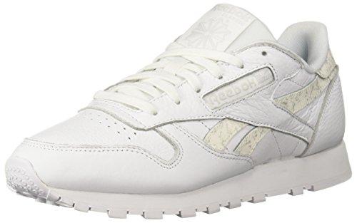 - Reebok Women's Classic Leather Walking Shoe, Sidestripes-White/LGH gre, 7.5 M US