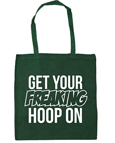 HippoWarehouse Get Your Freaking aro en bolsa de la compra bolsa de playa 42cm x38cm, 10litros verde oscuro