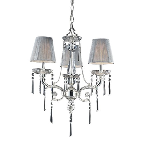 (Alumbrada Collection Princess 3 Light Chandelier In Polished Silver With Silk String Shades)