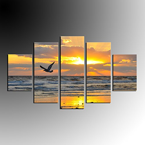 Hot Sale 5 Pieces Seagull Oil Painting Wall Art Home Decoration Sunrise Seascape Canvas Paintings For Living Room No Frame