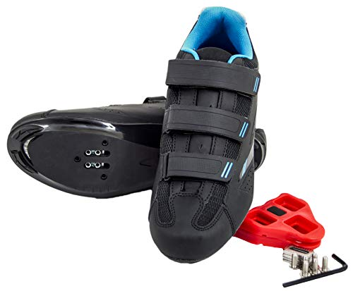 tommaso Pista Women's Spin Class Ready Cycling Shoe Bundle - Black/Blue - Look Delta - 40