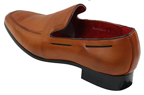 Italienische Herren Braun Leder On lässigen Schuhe eleganten Slip WqXq8aT