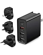 Quick Charge 3.0 USB C Wall Charger, Abetcabe portable 4-Port Foldable fast charging with 18W Power Delivery PD 3.0 Type C Adapter Compatible with iPhone 12/12 mini, 12 /11 Pro Max/X, Pad Pro, Galaxy Note 10/ 9,Google Pixel 3/3X (ASU/EU/US Plug Included)