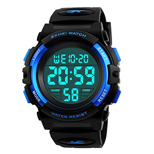 Kid's Watch,Boys Watch Digital Sport Outdoor Multifunction Chronograph LED 50M Waterproof Alarm Calendar Analog Watch for Children with Silicone Band Blue