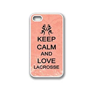 Keep Calm And Love Lacrosse Coral Floral - Protective Designer WHITE Case - Fits Apple iPhone 4 / 4S / 4G