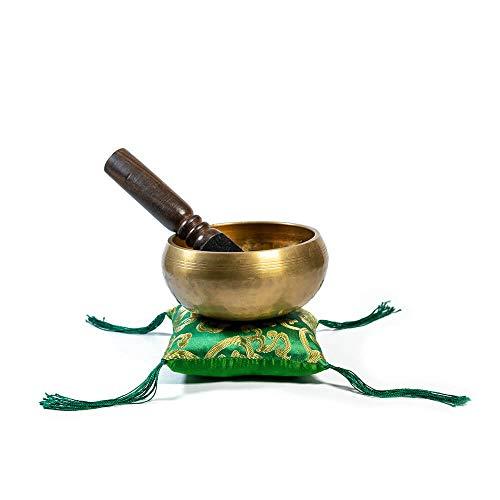 "Handmade Tibetan Meditation 5"" Hand Hammered Singing Bowl Set - Comes With Beautiful Silk Cushion, Mallet & Lokta Paper Box - Perfect Gift Set For Chakra/Spiritual/Sound Healing - Yoga Accessory"
