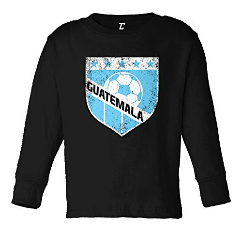 Tcombo Guatemala Soccer - Distressed Badge Long Sleeve Toddler Cotton Jersey Shirt (Black, 5T/6T) ()