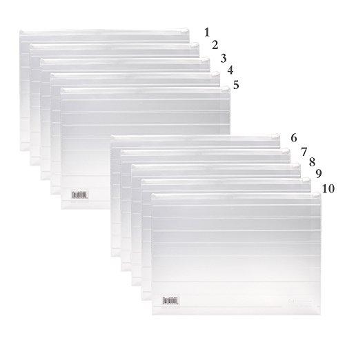 [MoMaek Office Originals A4 Size File Folders ,Plastic Envelopes with Zipper Closure (10 per Pack)] (Zipper File)